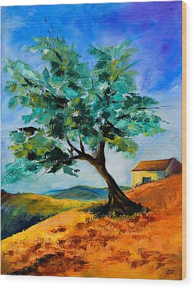 Olive Tree On The Hill Wood Print by Elise Palmigiani