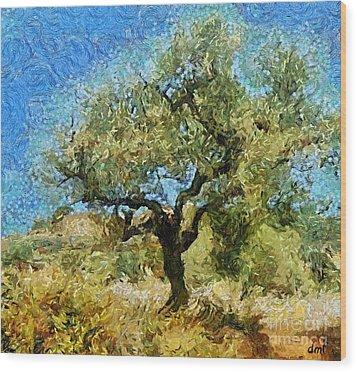Olive Tree On Van Gogh Manner Wood Print