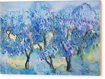 Olive Trees In A Tuscan Garden  Wood Print by Trudi Doyle