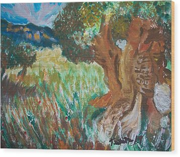 Wood Print featuring the painting Olive Trees by Teresa White