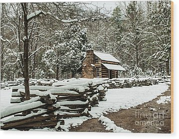 Wood Print featuring the photograph Oliver's Log Cabin Nestled In Snow by Debbie Green