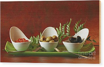 Olives And Salsa Delight Wood Print by Inspired Nature Photography Fine Art Photography