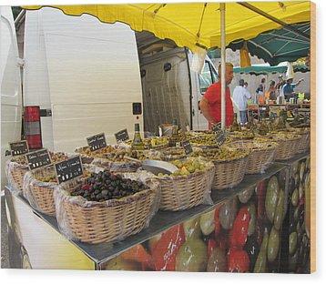 Olives For Sale Wood Print by Pema Hou
