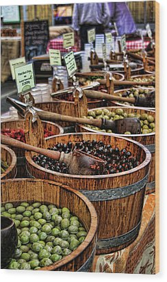 Olives Wood Print by Heather Applegate