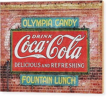 Wood Print featuring the painting Olympia Candy by Sandy MacGowan