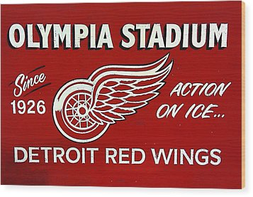 Olympia Stadium - Detroit Red Wings Sign Wood Print by Bill Cannon