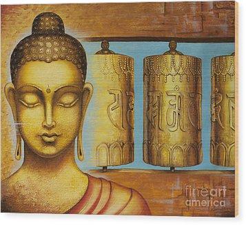 Om Mani Padme Hum Wood Print by Yuliya Glavnaya