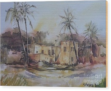 Omani House Wood Print by Donna Acheson-Juillet