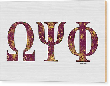 Wood Print featuring the digital art Omega Psi Phi - White by Stephen Younts