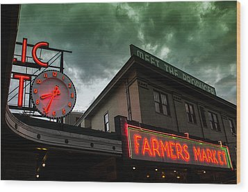 Ominous Scene At The Market Wood Print by Brian Xavier