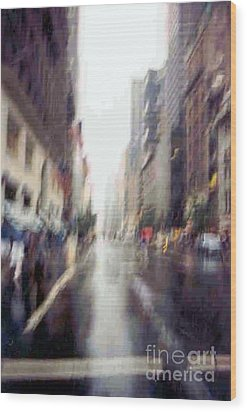 Wood Print featuring the photograph On A Clear Day 5th Ave New York by Michael Hoard