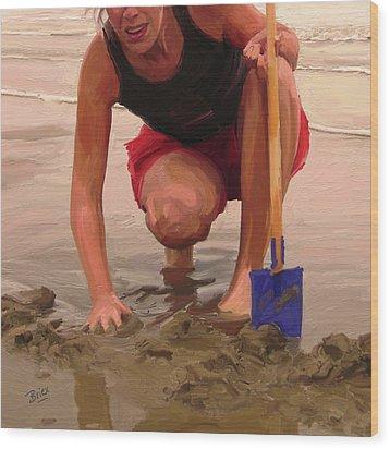 On A Dutch Beach Wood Print by Nop Briex