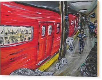 On A Subway Platform Wood Print by Ka-Son Reeves