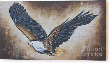 On Eagle's Wings Wood Print by Ilse Kleyn