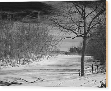 On Frozen Pond Wood Print