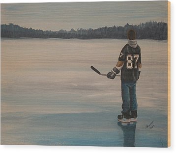 On Frozen Pond - The Kid Wood Print by Ron  Genest