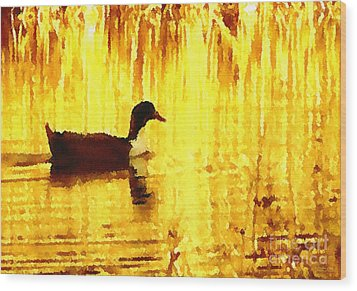 Wood Print featuring the digital art On Golden Pond by Cristophers Dream Artistry