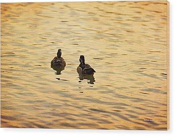 On Golden Pond Ducks Wood Print by Angela A Stanton