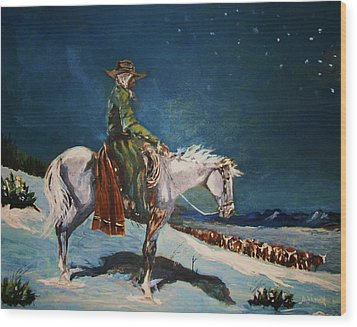 Wood Print featuring the painting On Night Herd In Winter by Al Brown