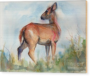 On Second Thought Wood Print by Maria's Watercolor