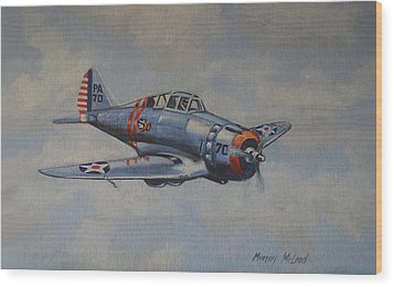Wood Print featuring the painting On Silver Wings by Murray McLeod