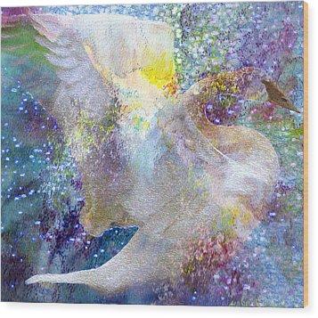 On Swan's Wings Wood Print