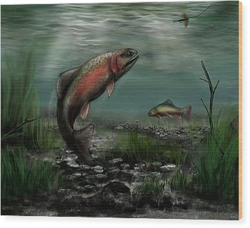 On The Attack - Rainbow Trout After A Fly Wood Print by Ron Grafe