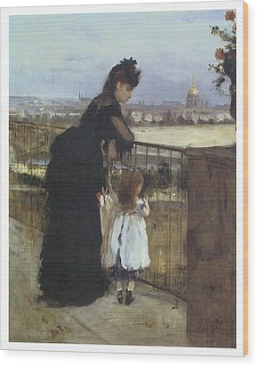 On The Balcony Wood Print by Berthe Morisot