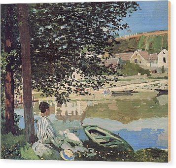 On The Bank Of The Seine Wood Print by Claude Monet