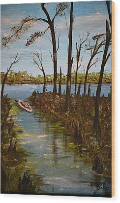 Wood Print featuring the painting On The Bayou by Debbie Baker