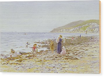 On The Beach Wood Print by Helen Allingham