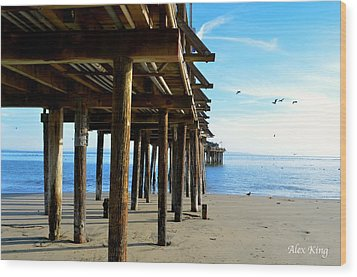 Wood Print featuring the photograph On The Beach In Capitola by Alex King