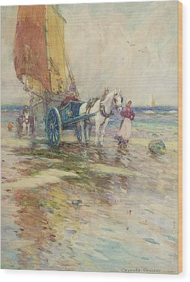 On The Beach  Wood Print by Oswald Garside