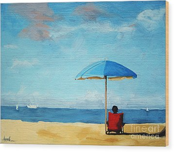 On The Beach - Special Time Wood Print by Linda Apple