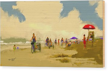 On The Beach Wood Print by Ted Azriel