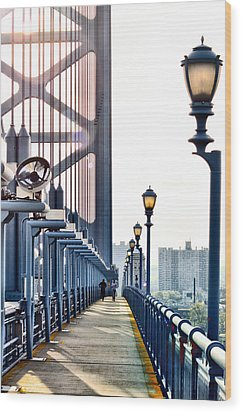 On The Ben Franklin Bridge Wood Print by Bill Cannon