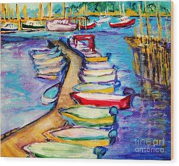On The Boardwalk Wood Print by Helena Bebirian