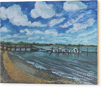 Wood Print featuring the painting On The Dock In Great Harbors by Rita Brown