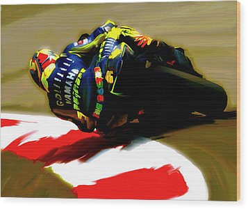 On The Edge Vi Valentino Rossi Wood Print by Iconic Images Art Gallery David Pucciarelli