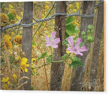 On The Fence Wood Print by Lainie Wrightson