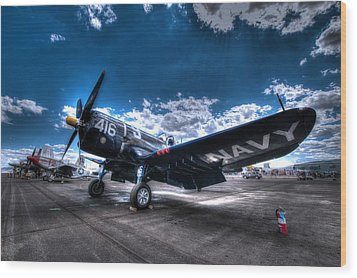 On The Flight Line.  F-4u Corsair At Reno Air Races Wood Print