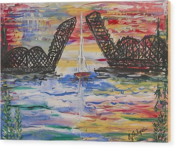 On The Hour. The Sailboat And The Steel Bridge Wood Print by Andrew J Andropolis