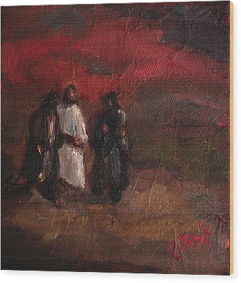 On The Road To Emmaus Wood Print