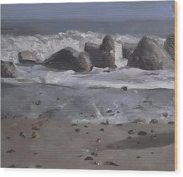 Wood Print featuring the painting On The Rocks by Cherise Foster