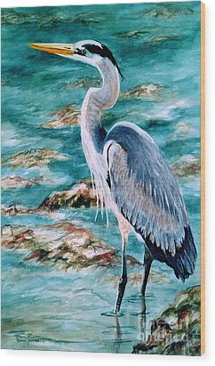 On The Rocks Great Blue Heron Wood Print