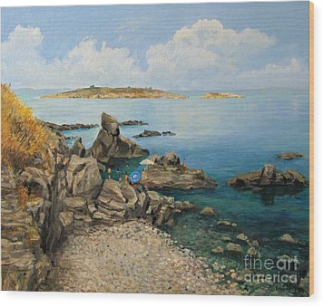 On The Rocks In The Old Part Of Sozopol Wood Print by Kiril Stanchev