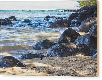 On The Rocks Wood Print by Suzanne Luft