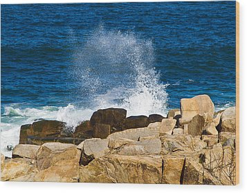 On The Rocks With A Splash Wood Print