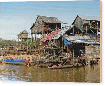 On The Shores Of Tonle Sap Wood Print by Douglas J Fisher