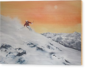 On The Slopes Wood Print by Jean Walker